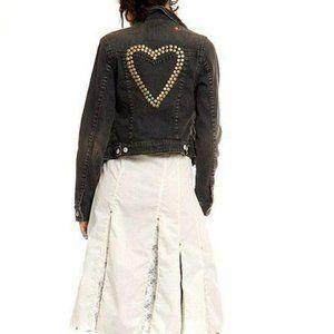 Free People Studded Heart Denim Jean Jacket S